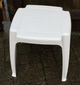 White Plastic Patio Side Table in Plainfield, Illinois
