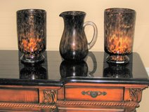 Beautiful Leopard Pattern Candle Holders & Pitcher - Pier 1 in Aurora, Illinois