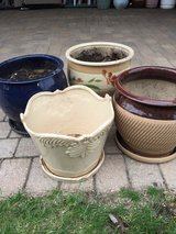 Four ceramic flower pots in Naperville, Illinois