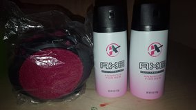 womens axe body spray and bath puff new in Chicago, Illinois