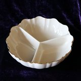 (Unique gift for mom) Lenox Vintage  Porcelain Ivory Divided Bowl W/Gold Trim Made in USA in Naperville, Illinois