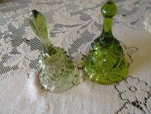 2 green glass bells with chimes vintage in Alamogordo, New Mexico