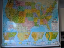 Double USA & World hanging wall map in Joliet, Illinois