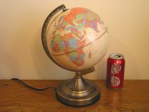 Lighted Geographic World Globe in Chicago, Illinois