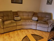 Microsuede sectional w/ recliners in Fort Leonard Wood, Missouri