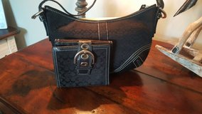 Coach black purse with matching wallet in Oswego, Illinois