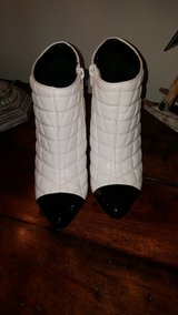 C label white quilted bootie with patent toe and heel in Chicago, Illinois