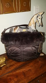 Authentic Coach bag trimmed with rabbit fur in Oswego, Illinois