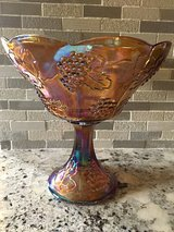 Marigold harvest carnival glass pedestal bowl in Morris, Illinois