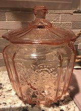 Anchor Hocking pink depression glass jar, lid in Chicago, Illinois