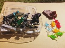 Container of Godzilla miniatures in Beaufort, South Carolina