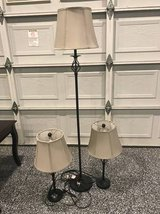 Lamp set of 3 lamps for end or coffee tables and one floor lamp in Camp Pendleton, California