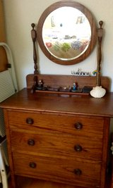 Antique Wood Dresser with Round Mirror in Ramstein, Germany