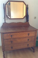 Antique Wood Dresser with Rectangular Mirror in Ramstein, Germany