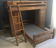 Solid Oak Twin Bunkbeds with Desk & Drawers in Aurora, Illinois