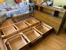 wooden full size bed frame with drawers in Bolingbrook, Illinois
