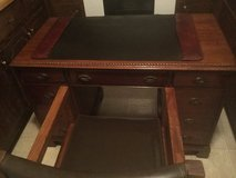 Antique Hardwood Office Desk with Leather Writing Pad and Hardwood Leather Office Chair With Wheels in Camp Lejeune, North Carolina