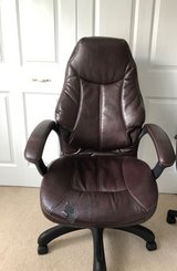 Oversized Tall Back Choclate Faux Desk Chair in Aurora, Illinois