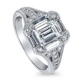 CLEARANCE***GORGEOUS Emerald Cut CZ Art Deco Engagement Ring***SZ 7 in Houston, Texas