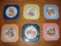 6 Piece Syracuse China Brand Ceramic American History COASTER Complete Set in New Lenox, Illinois