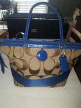 Blue/Beige Coach Purse in Warner Robins, Georgia