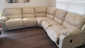 5 Piece Reclining Leather Sectional Couch in Oswego, Illinois