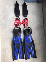 Snorkeling Fins with shoes and gloves in Okinawa, Japan