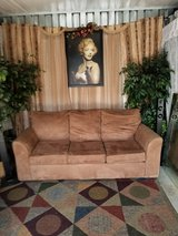 Brand New Beige micro suede full size  couch in Fort Campbell, Kentucky