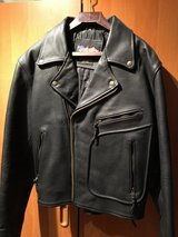 Men's Medium - Black Leather Motorcycle Jacket in Ramstein, Germany