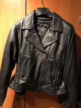 Woman's Large - Black Leather Motorcycle Jacket in Ramstein, Germany