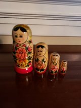 Russian nesting doll with 4 graduated sized identical hand painted in Oswego, Illinois