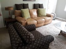 NICE Leather Couch Sofa with Palmetto Chair and Pillows in Beaufort, South Carolina
