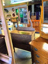 antique oak 3 drawer chest w/mirror in Camp Lejeune, North Carolina