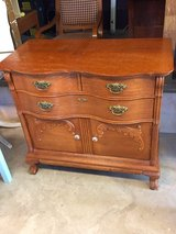 signed ultra high end oak bow front cabinet in Camp Lejeune, North Carolina