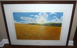 Vtg 1973 Lithograph FOR AMBER WAVES OF GRAIN Framed Art by Hosford in Joliet, Illinois