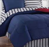 Fairfield Square Full Navy Yard BED SKIRT Bedding Stripe Blue Red in Kingwood, Texas