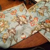 Blue Coral Orange Floral Flower PILLOW SHAM Bedding Burlap Beige in Kingwood, Texas