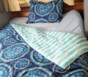 Blue Black Floral Flower Stripe Full Size Geometric Comforter Pillow Sham Bedding in Kingwood, Texas