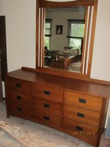Mission Style long dresser with mirror in Oswego, Illinois