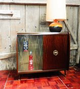 Mid Century Mini Bar with Sliding Doors and Leather Interior in Ramstein, Germany