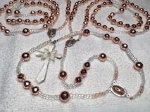 Lasso Wedding Rosary Copper Faceted Beads Extraordinary Full Color Medal Our Lady of Guadalupe V... in Kingwood, Texas