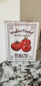 Produce Market wooden wall hanging in Yucca Valley, California