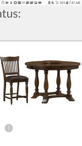 Solid wood pedistal table w 5 chairs in Fort Benning, Georgia