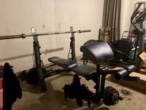 Weight bench with 303lbs of plates in Fort Hood, Texas