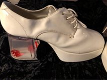 Men's White Disco Platforms w/Dice Heels  The heels are clear with floating dice.  $30.00 in Kingwood, Texas