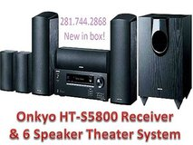 6 Onkyo Speakers & Receiver, New, HT-S5800 Home Theater Surround Sound Package in Houston, Texas