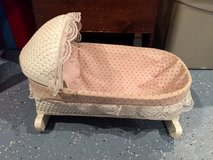 Vintage White Wicker Doll Bassinet Cradle with Hood in Glendale Heights, Illinois