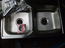 stainless steel double sink/faucett set-new in Camp Lejeune, North Carolina