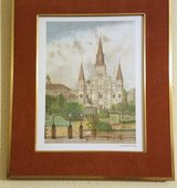 1983 Archie Boyd Signed St. Louis Cathedral NOLA Color Sketch New Orleans in Kingwood, Texas