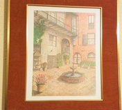1983 Archie Boyd Signed Vieux Carre' Brulator Courtyard Color Sketch New Orleans in Houston, Texas